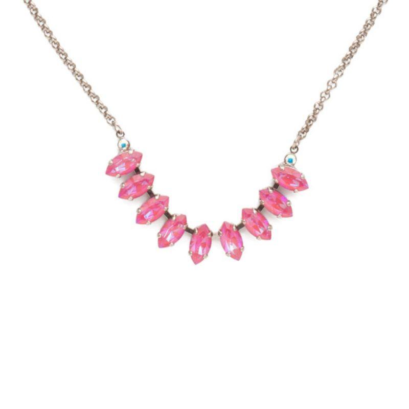 Clarissa Tennis Necklace - Antique Silver Electric Pink image