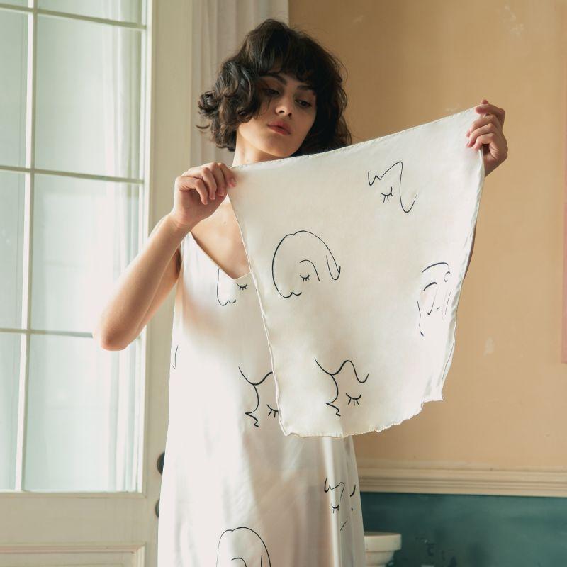 The Dream Art Printed Silk Scarf - White image