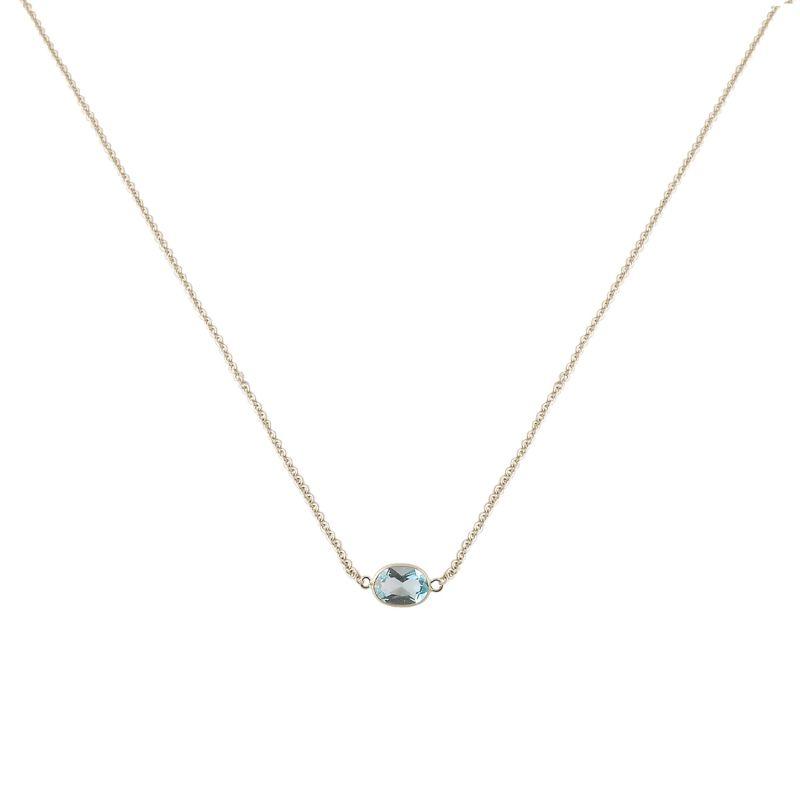 Single Stone Bezel Set Blue Topaz Necklace In 14 Karat White Gold image