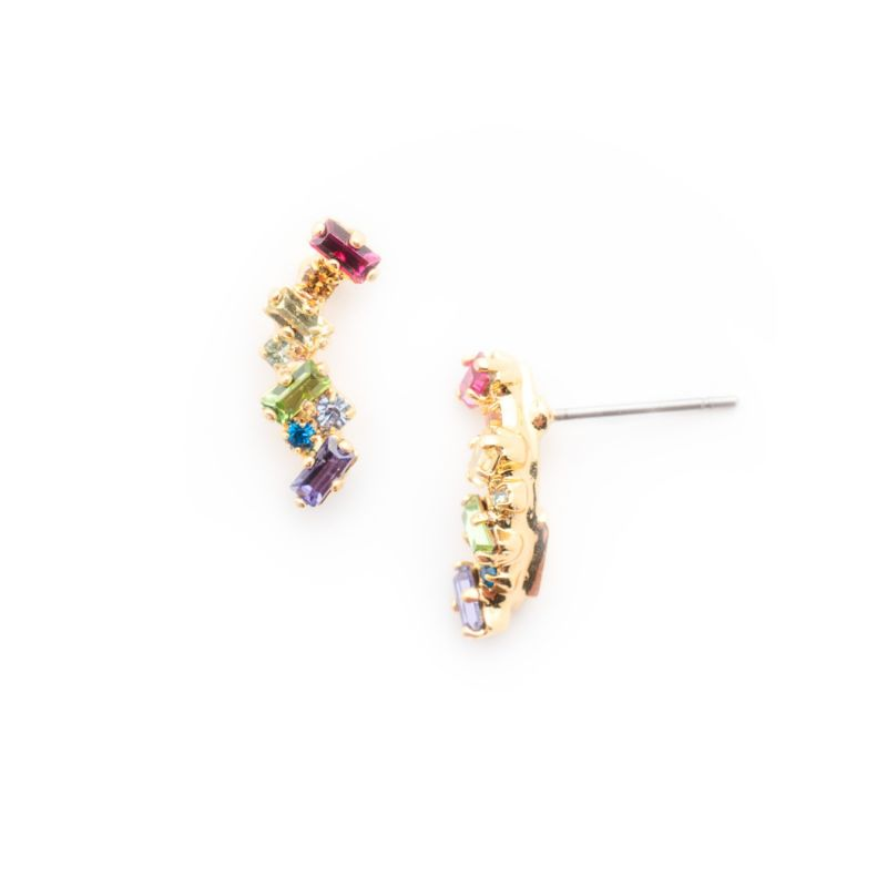 Dotted Line Ear Crawler Stud Earrings - Bright Gold Prism image