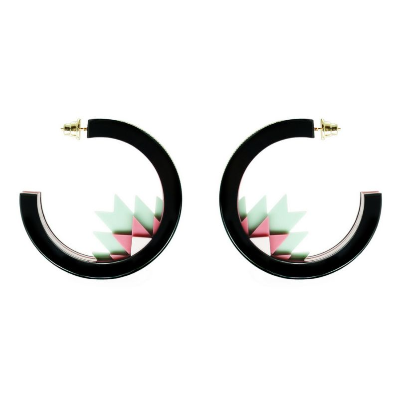 Handmade Acrylic Earring Hoops Kuntur Green image