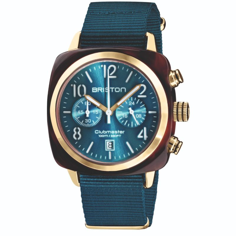 Briston Clubmaster Classic Chronograph Tortoise Shell Acetate, Sunray Peacock Blue Dial And Yellow Gold image
