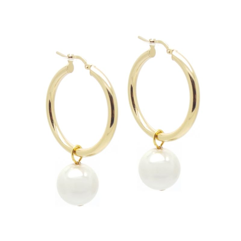 Bridal Collection Daphne Pearl Hoop Earrings image