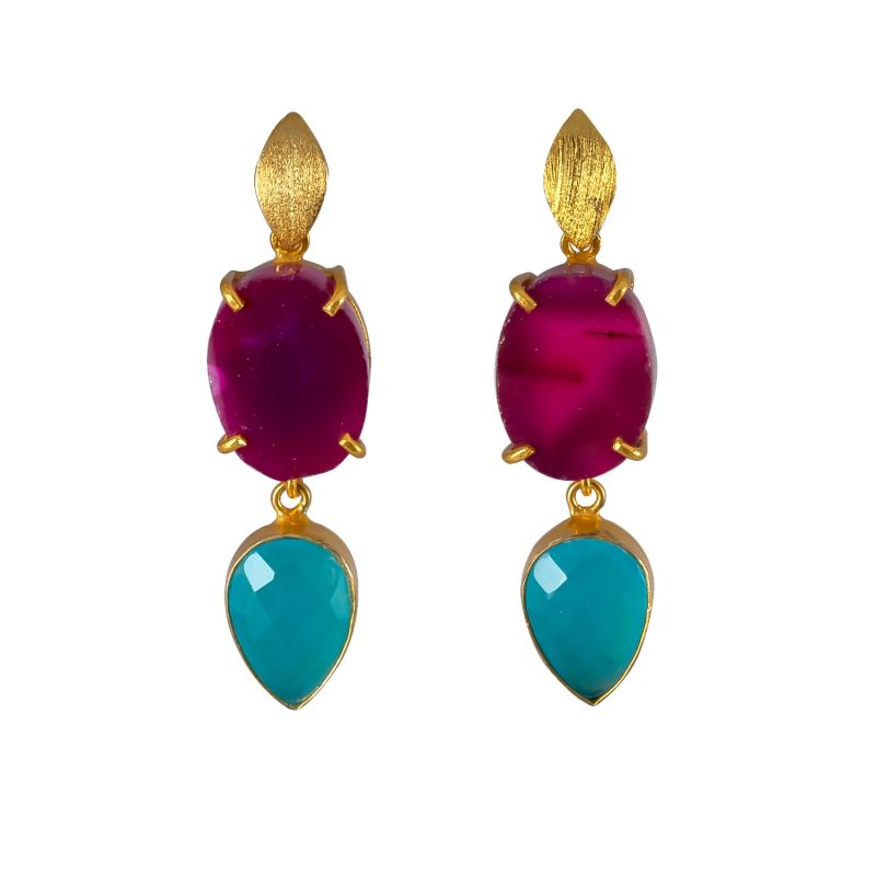 Purple Agate & Turquoise Onyx Cocktail Earrings image