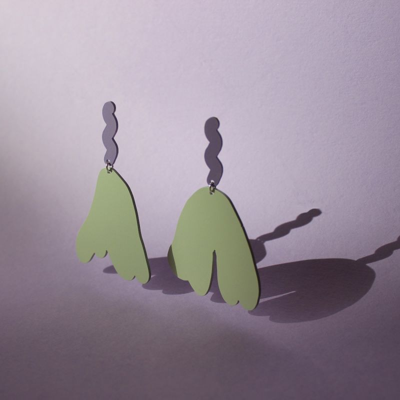 High Tide Statement Earrings - Lavender & Foggy Green image