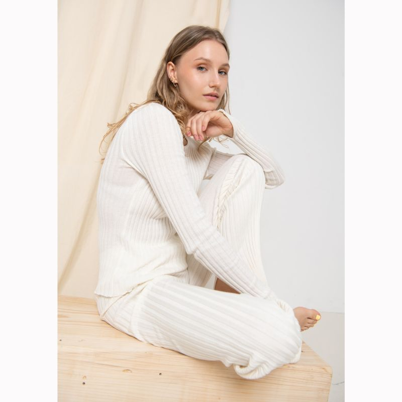 Ribbed Long Sleeve Top White image