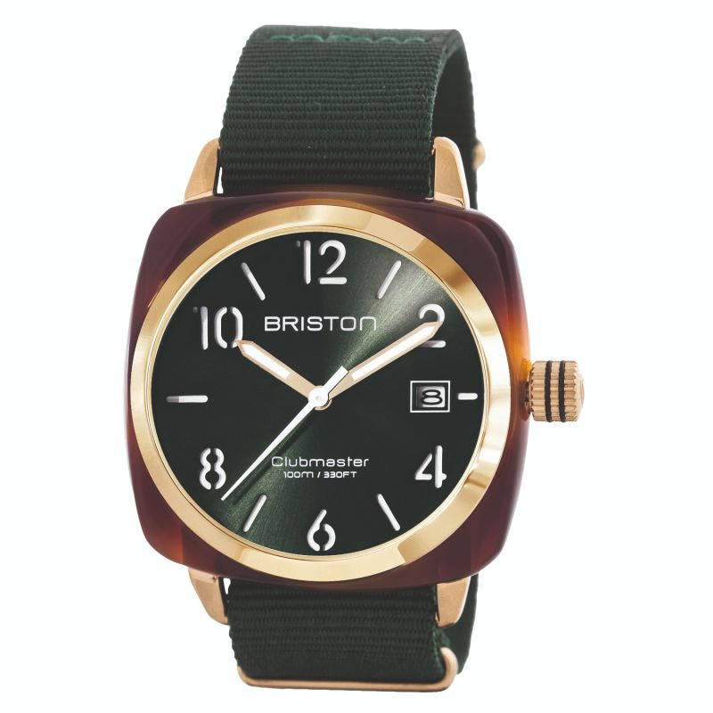 Briston Clubmaster Classic 3 Hand Tortoise Shell Acetate, Green Sunray Dial Yellow Gold On Green Nato Strap image