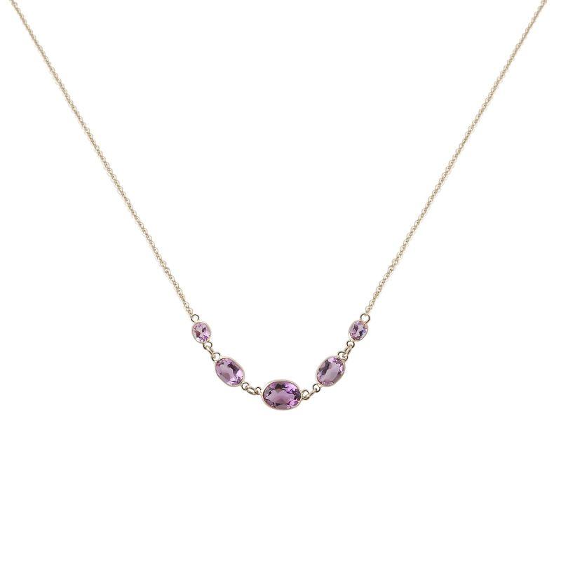 Five Stone Bezel Set Amethyst Necklace In 14K White Gold image