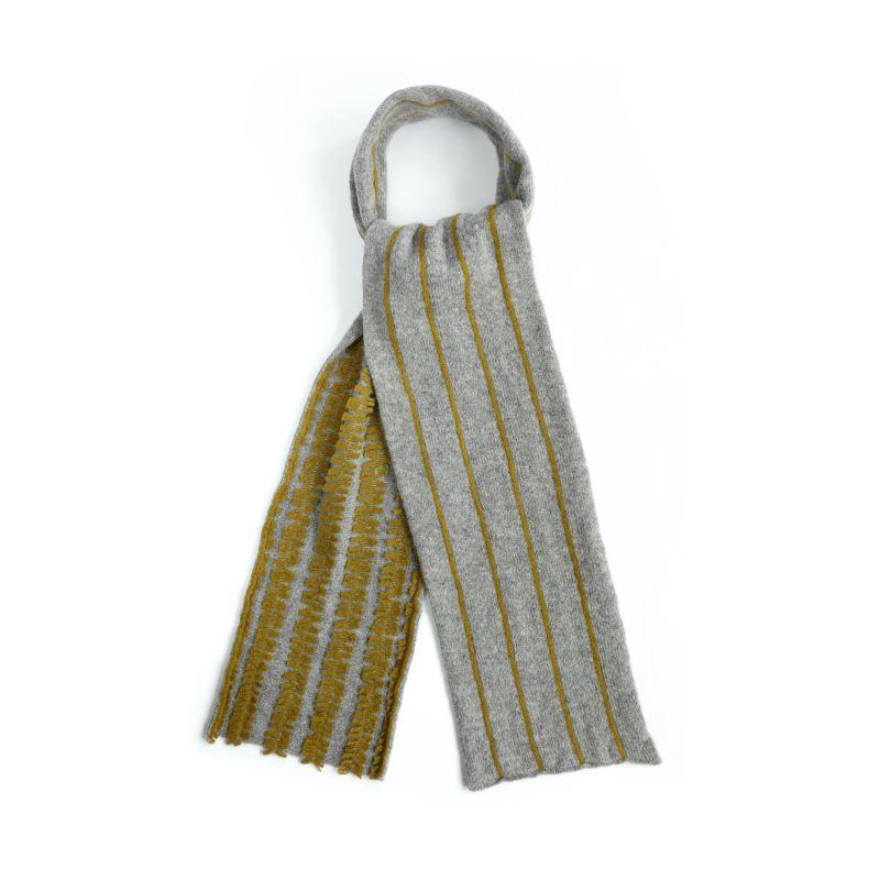 Double Faced Pinstripe Scarf In Silver & Ochre Merino Lambswool image