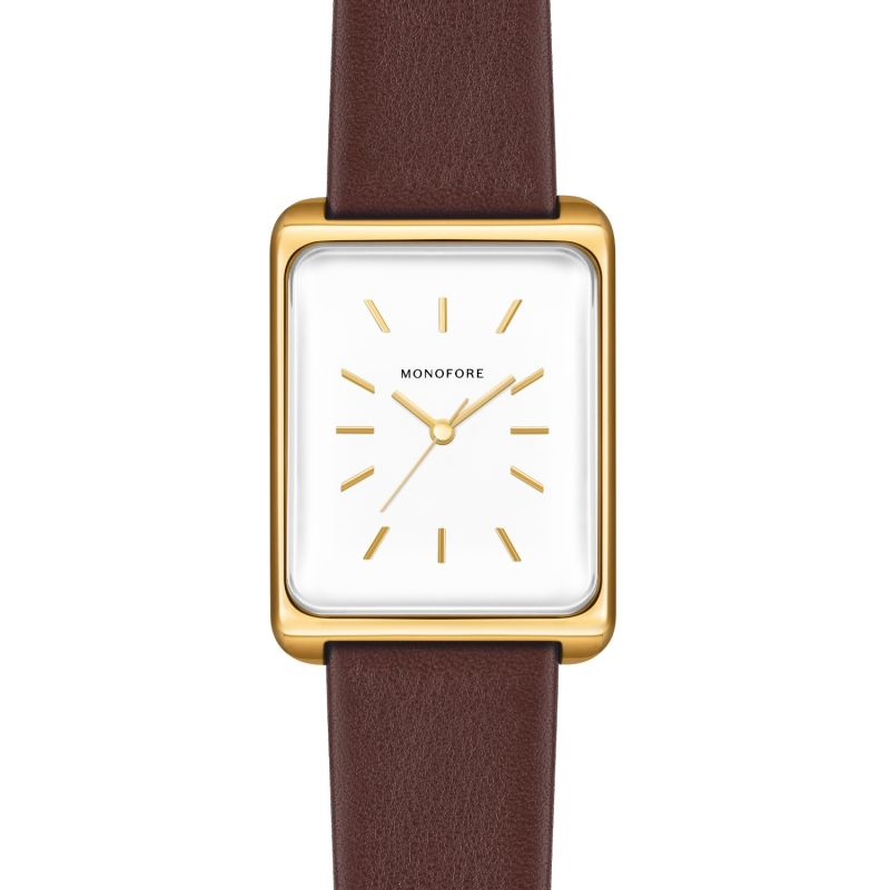 Monofore M01 Gold 38mm - Brown Leather image