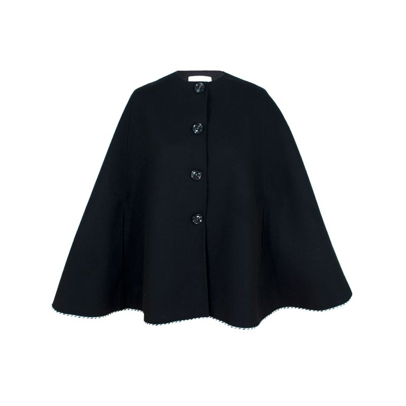 The Zephyr Pure Wool Cape With Contrast Cording image