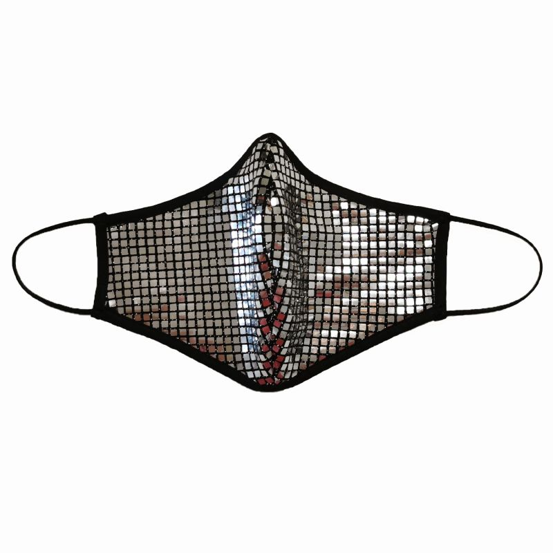 Triple Layer Sequined Face Mask - Silver image