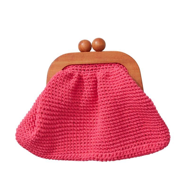 Newport Neon Hand Crocheted Clutch In Pink image
