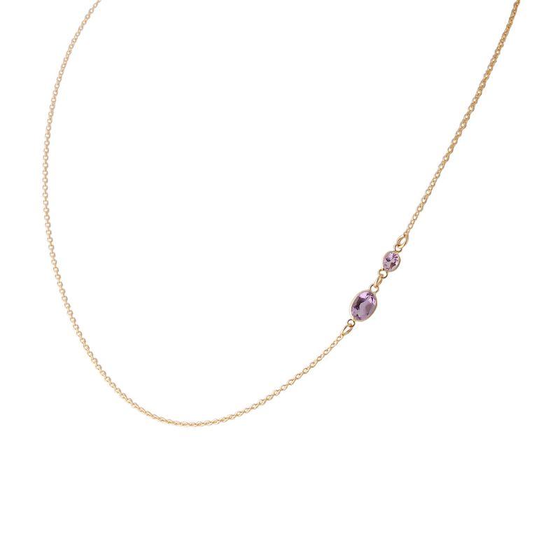 Two Stone Bezel Set Amethyst Necklace In 14 Karat Yellow Gold image
