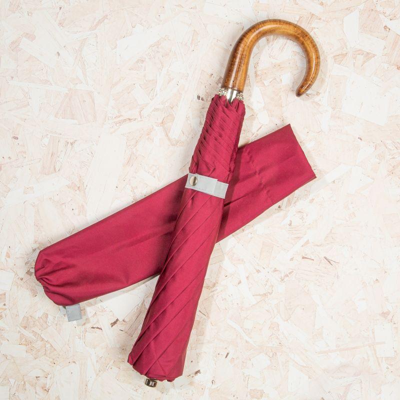 British Folding Umbrella Burgundy/Grey image