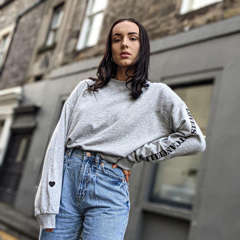 Love Cropped Sweatshirt In Grey image