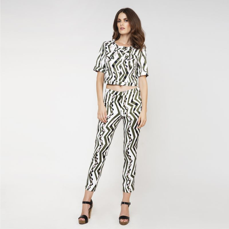 Fitted Print Trousers By Conquista Fashion image