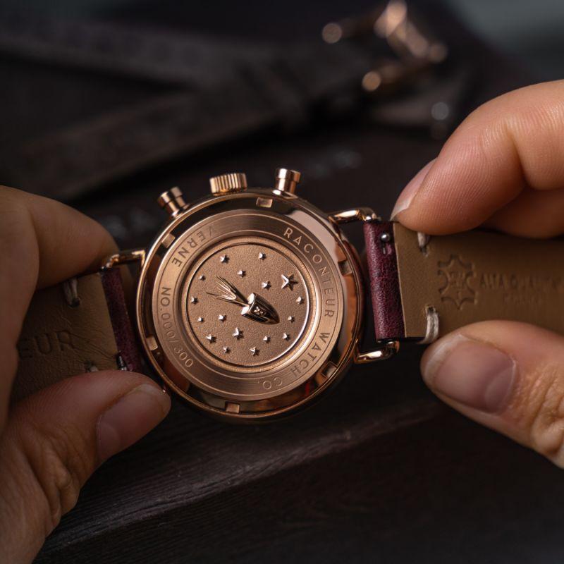 Verne Bi-Compax Rose Gold Grey - Bordeaux Leather image