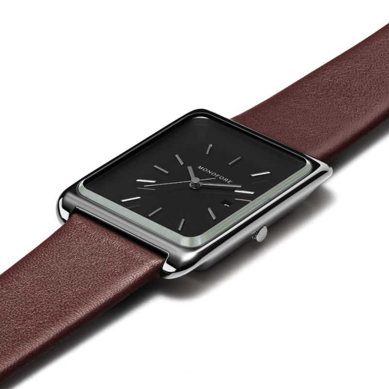 Monofore M01 Silver Black 41Mm - Brown Leather image