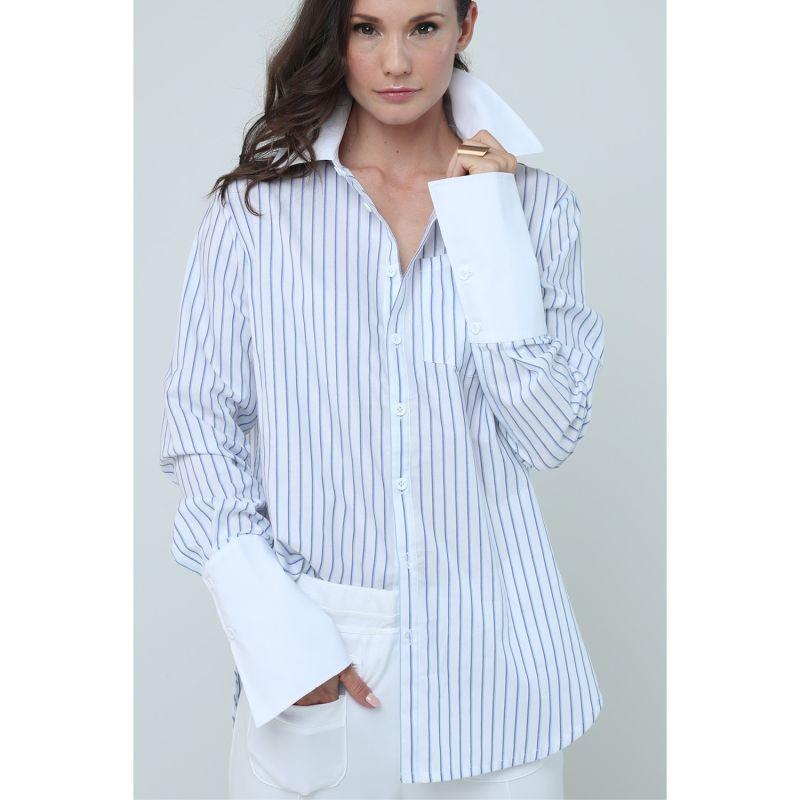Boyfriend Shirt - Blue Stripe image