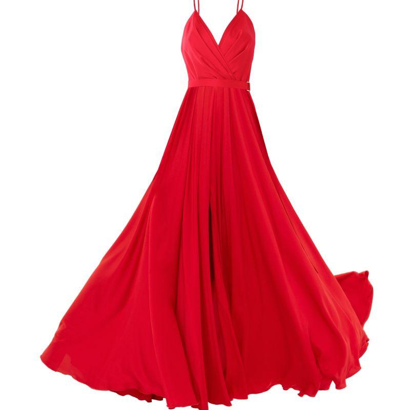 Satin Long Dress Red image
