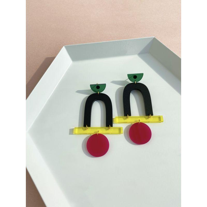 Mega Stack Emerald, Black, Yellow, Fuchsia Earrings image