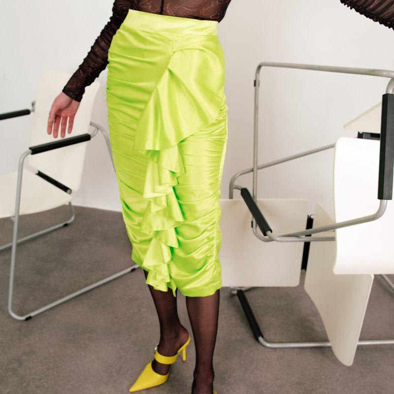 Kaia Ruffled Acid Green Skirt image
