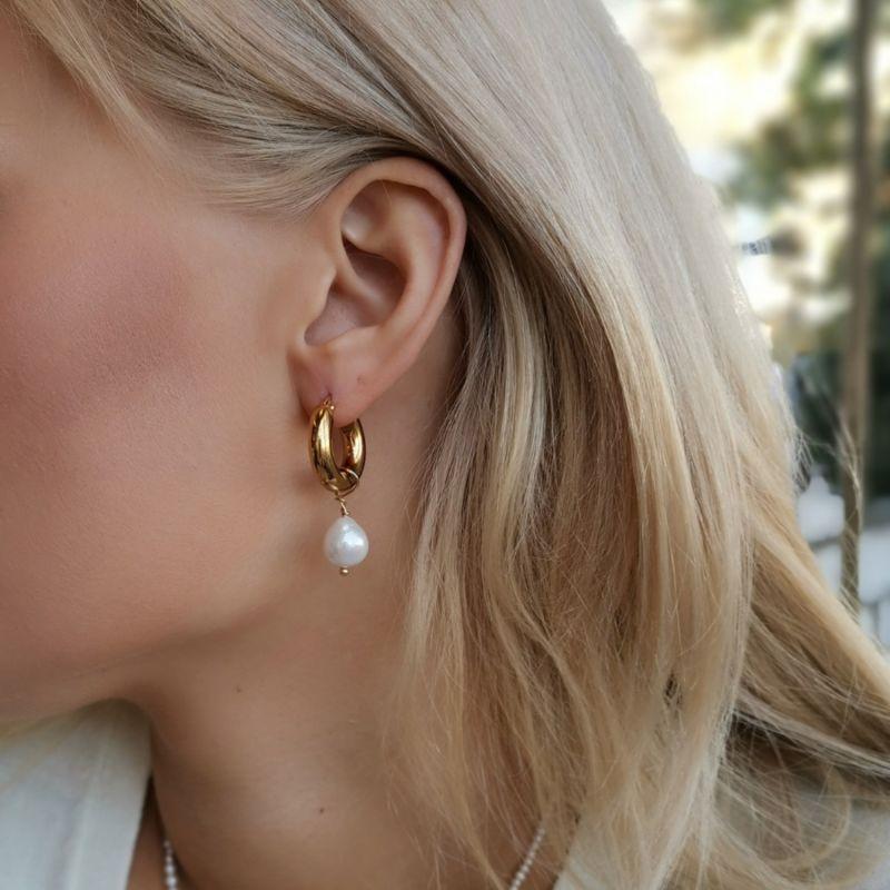 Funky Pearl Hoop Earrings image