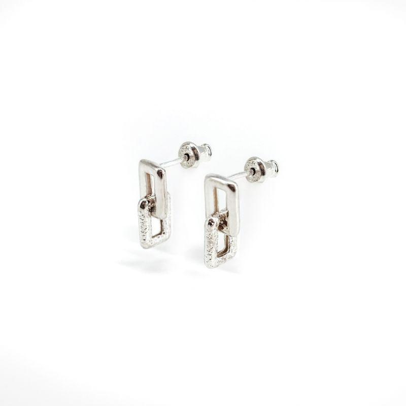Geo Mini Silver Earrings image
