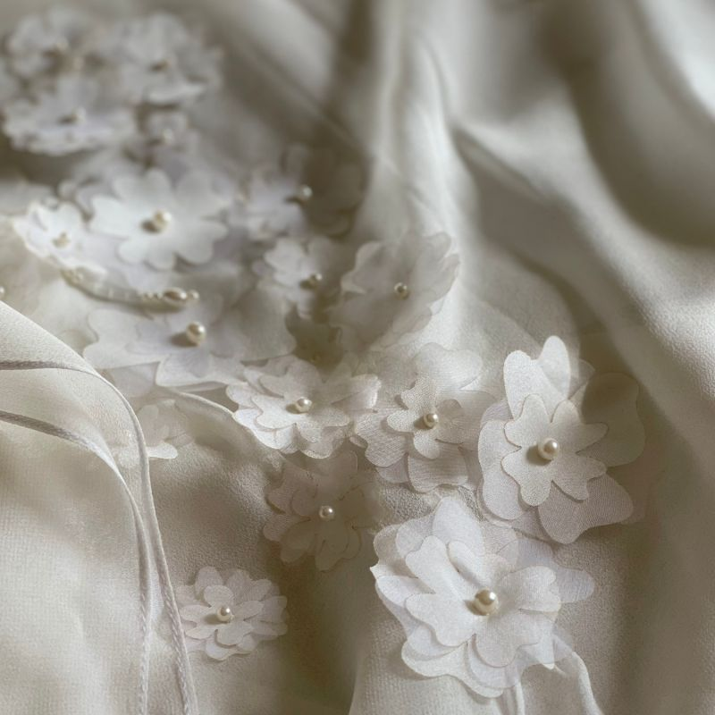 Gaby Hand Embroidered Flower Silk Chiffon Caftan image