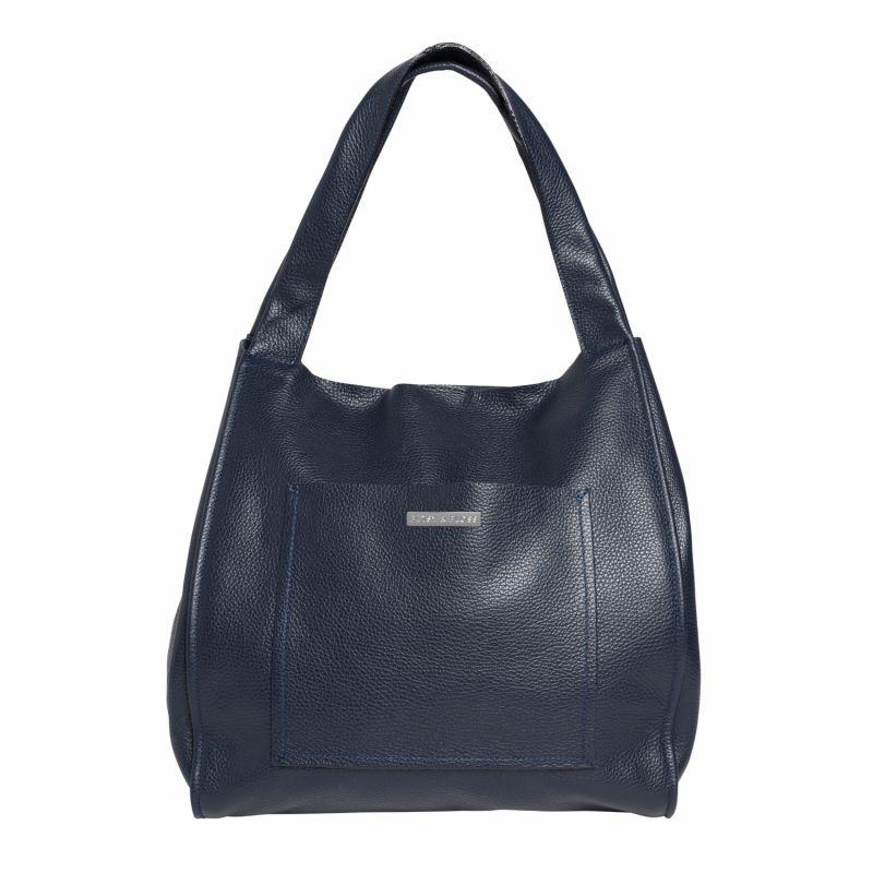 Soft Leather Shopper Bag In Navy Blue image