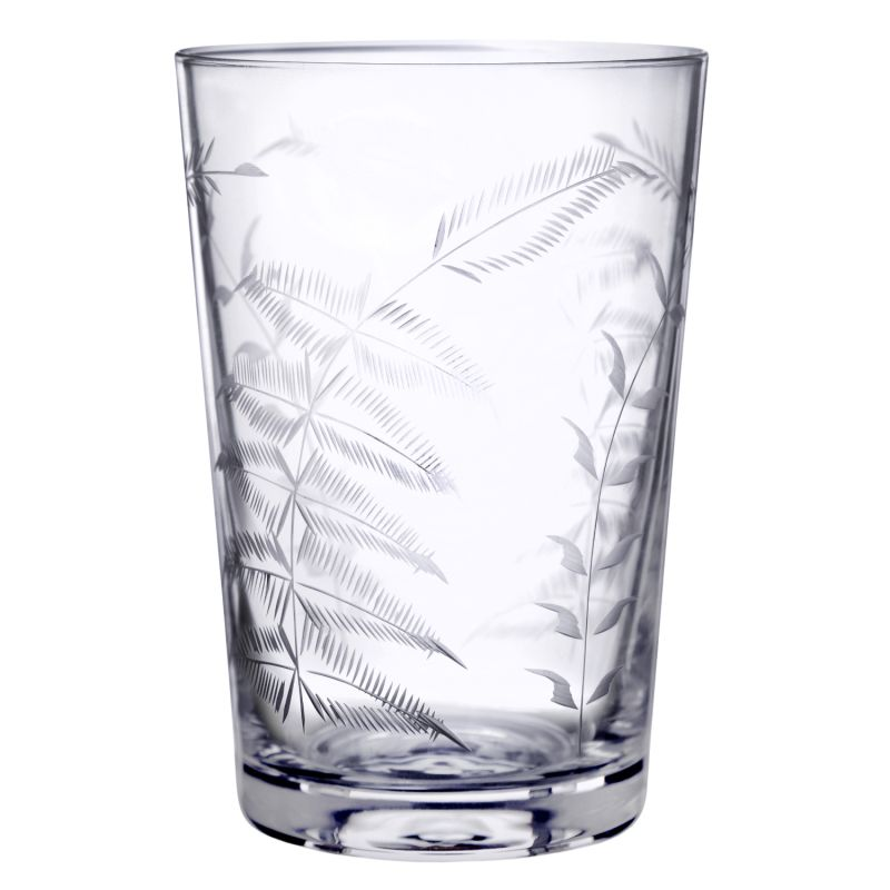 Six Hand-Engraved Crystal Tumblers With Ferns Design image