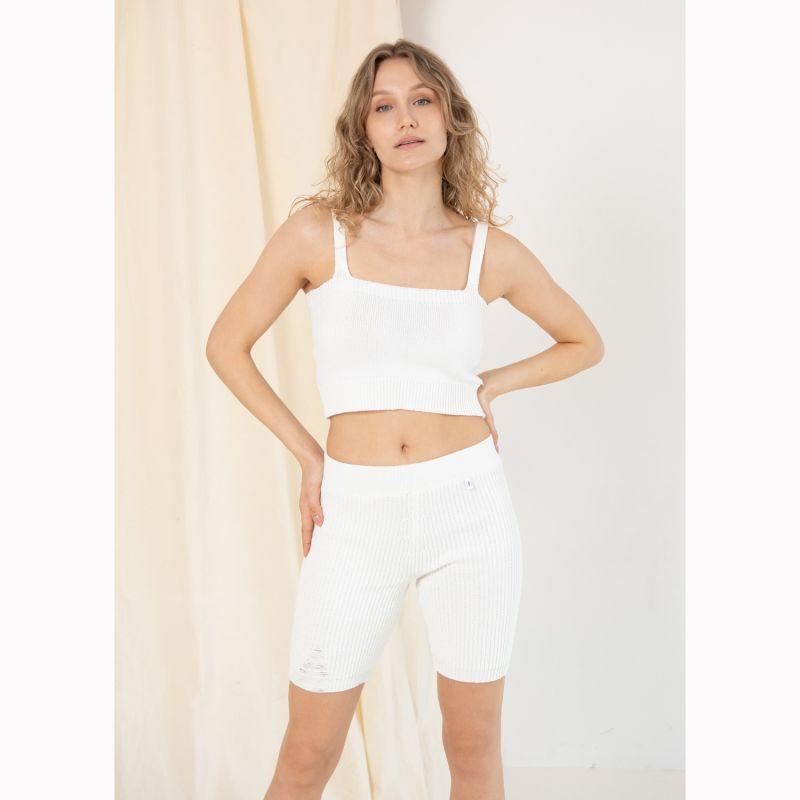 Ribbed Cycling Shorts White (White) image