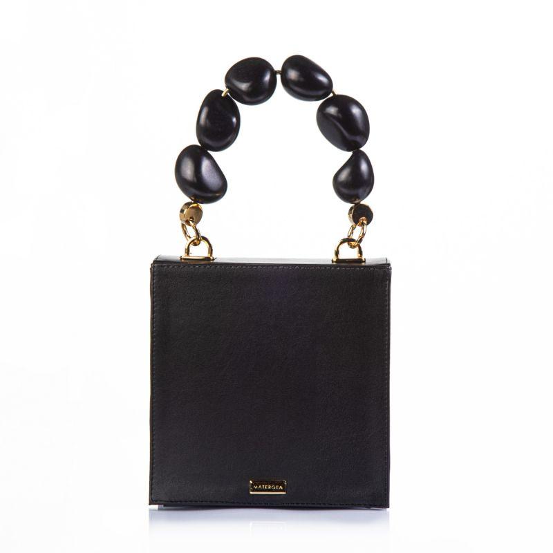 Vegan Cactus Leather Handbag Vitta Flowers Black Tagua Handle image
