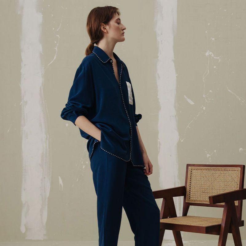 Pocket Embroidery Long Pajama Set - For Both Men & Women image