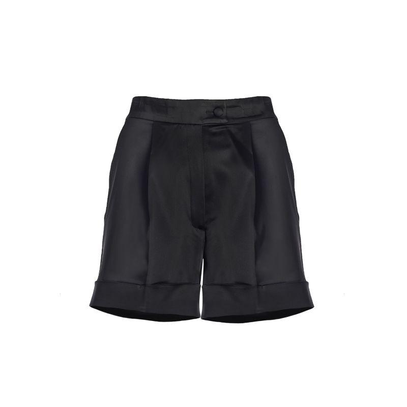 High-Waist Satin Tailored Shorts image