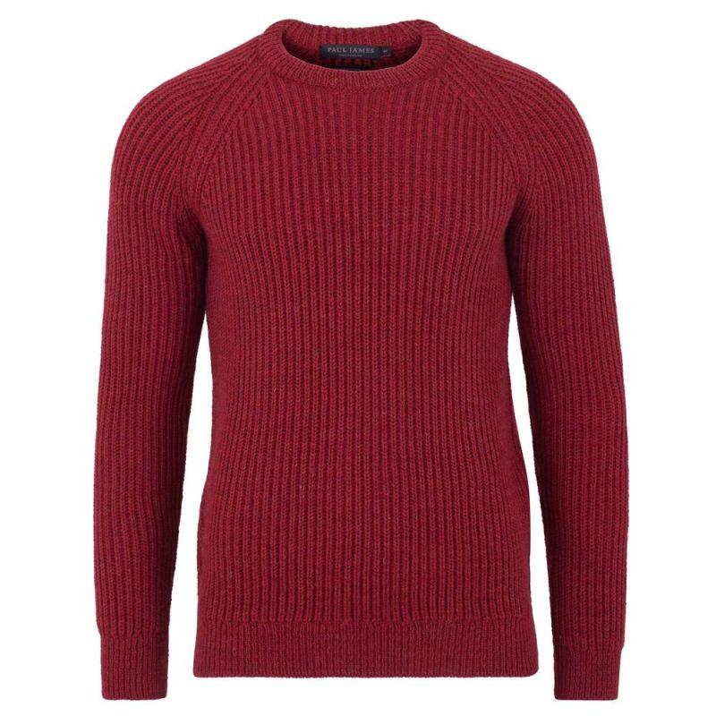 Mens British Wool Heavyweight Ribbed Jumper Scarlet Red image