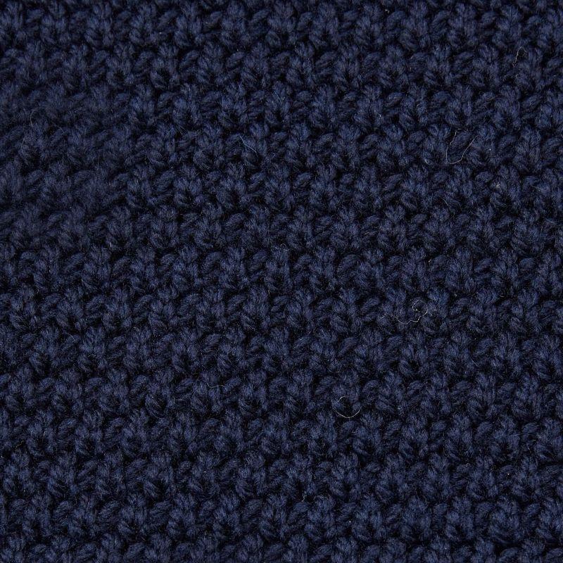 Mens 100% Merino Moss Stitch Fisherman Jumper Navy image