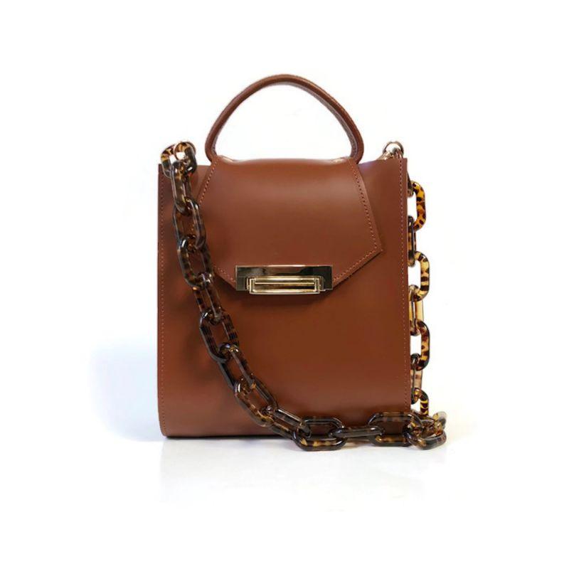 Romi Croc Embossed Leather Bag In Chestnut Brown image