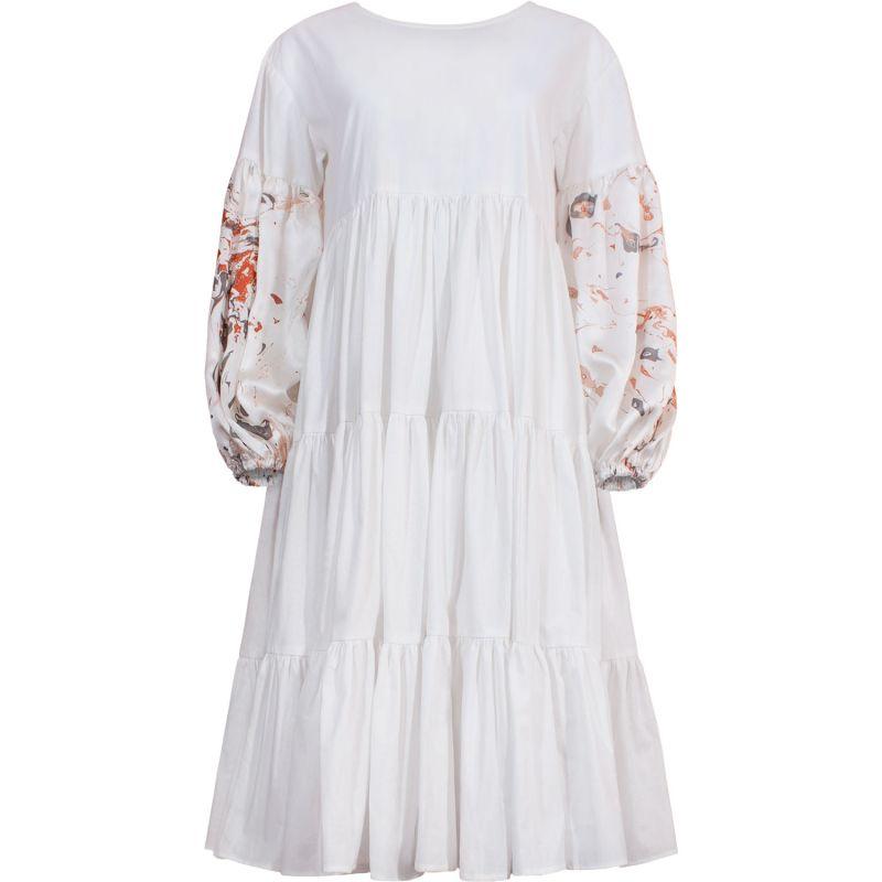 Oversize Midi Tiered Smock Dress White image