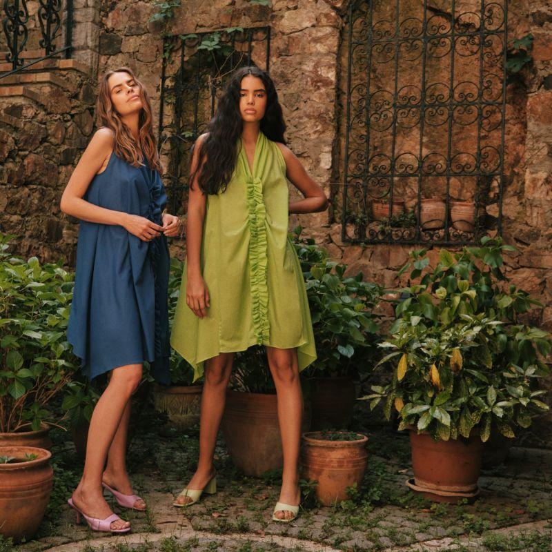 Ruffled Organic Cotton Dress In Green image