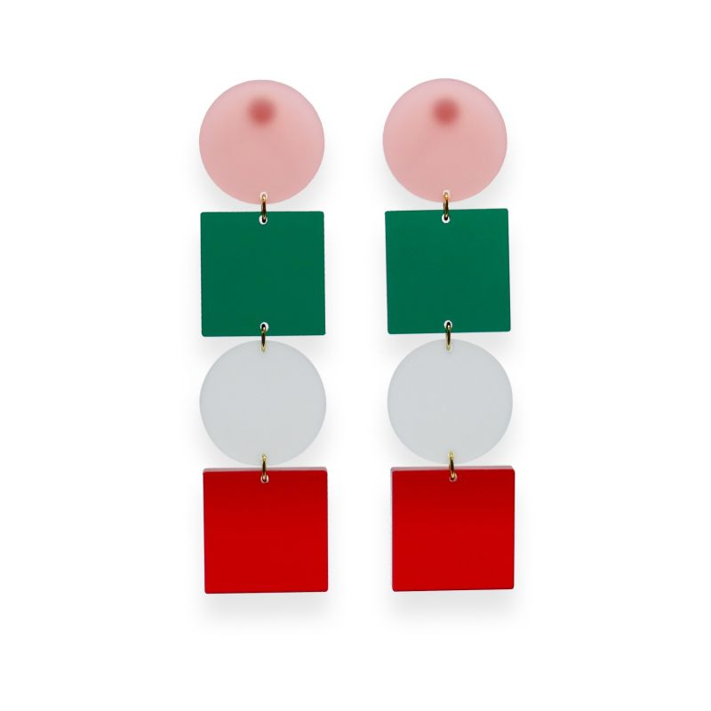 Block Stack Earrings-  Pink, Emerald, Frost, Red image