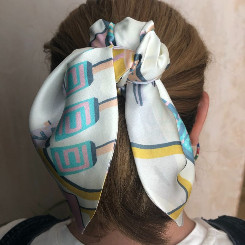Silk Scarf Tie Scrunchies - In Limited Edition Liberty Of London Hotel Motel 100% Silk Satin image