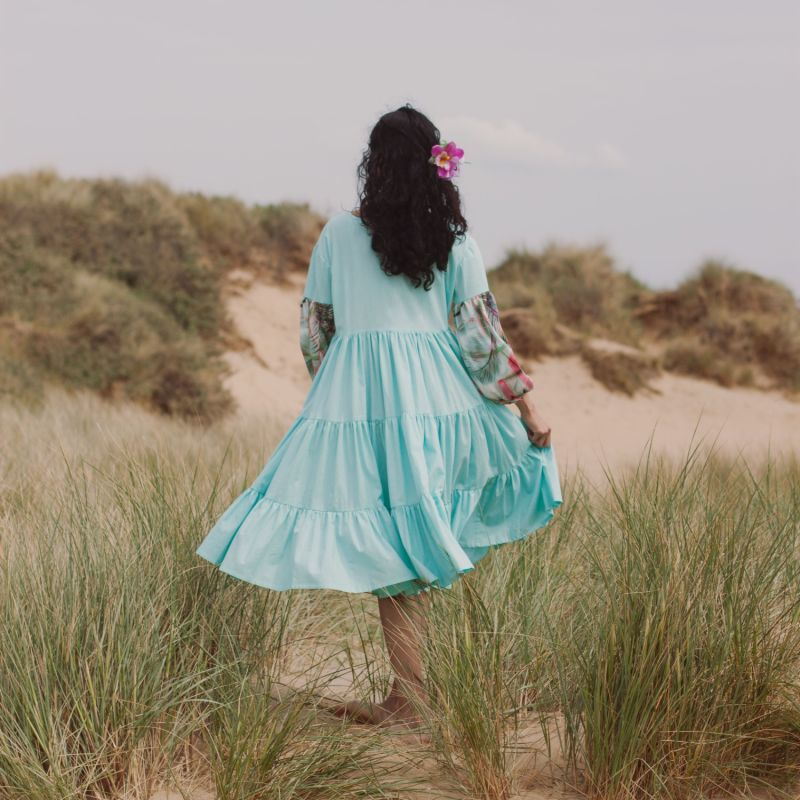 Oversize Midi Tiered Smock Dress Blue image