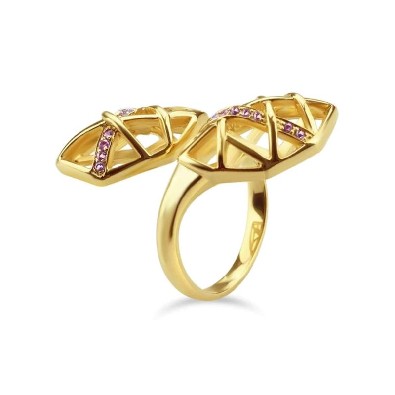 Gold Plated Amethyst Helical Ring image
