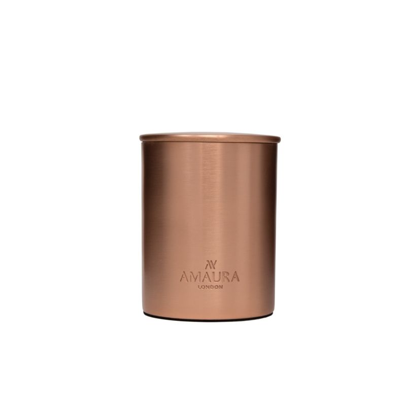 'Ignite' Oud & Geranium Eco Luxury Candle In Pure Copper In A Rose Gold Finish image