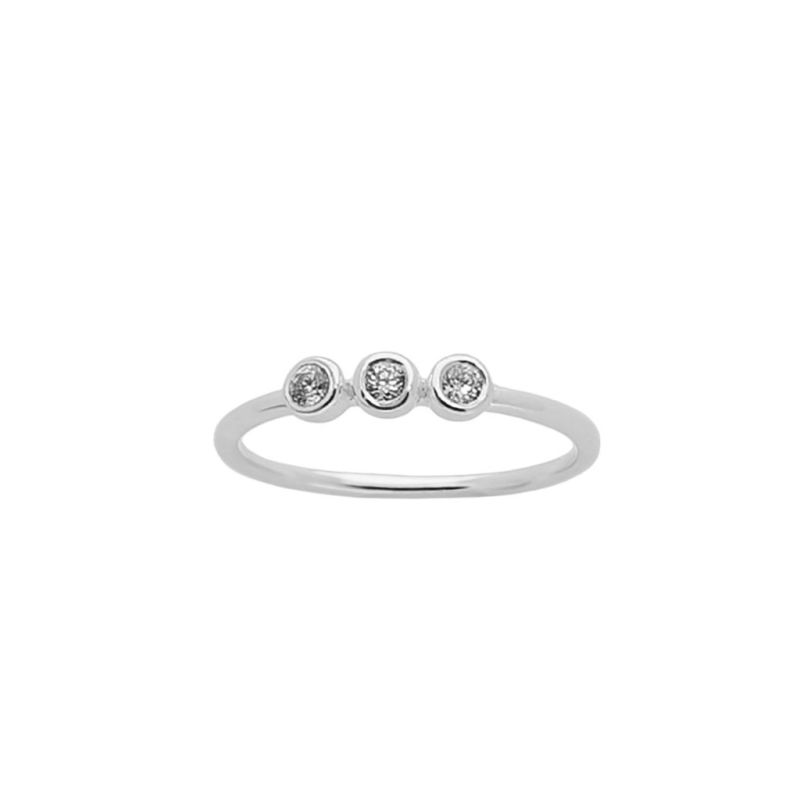 Taylor 3 White Crystal Ring In Silver image