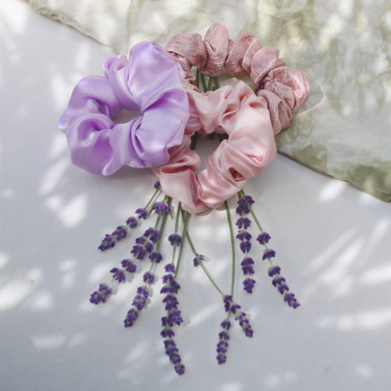 Lilac Silk Satin Scrunchie image