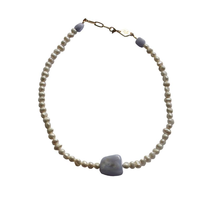 Boulder Agate & Pearl Necklace image