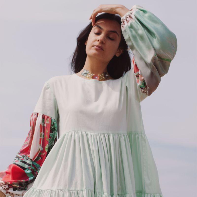 Oversize Midi Tiered Smock Dress Mint Green image